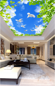 3D Green Leaf Bird Sky 7 Ceiling Wall Paper Print Wall Indoor Wall Murals CA