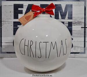 Rae-Dunn-CHRISTMAS-Ornament-Figural-Ball-with-Bow-Holiday-Display-Large-NEW-039-19