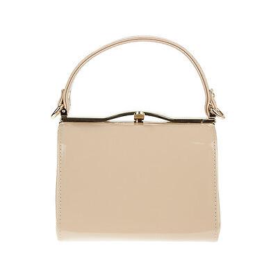 Ladies Patent Box Handbag Clutch Bag Top Handle Rigid Evening Bag Purse K16688