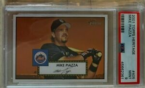 2001-TOPPS-HERITAGE-405-MIKE-PIAZZA-New-York-Mets-PSA-NM-MT-9-SP-Low-POP