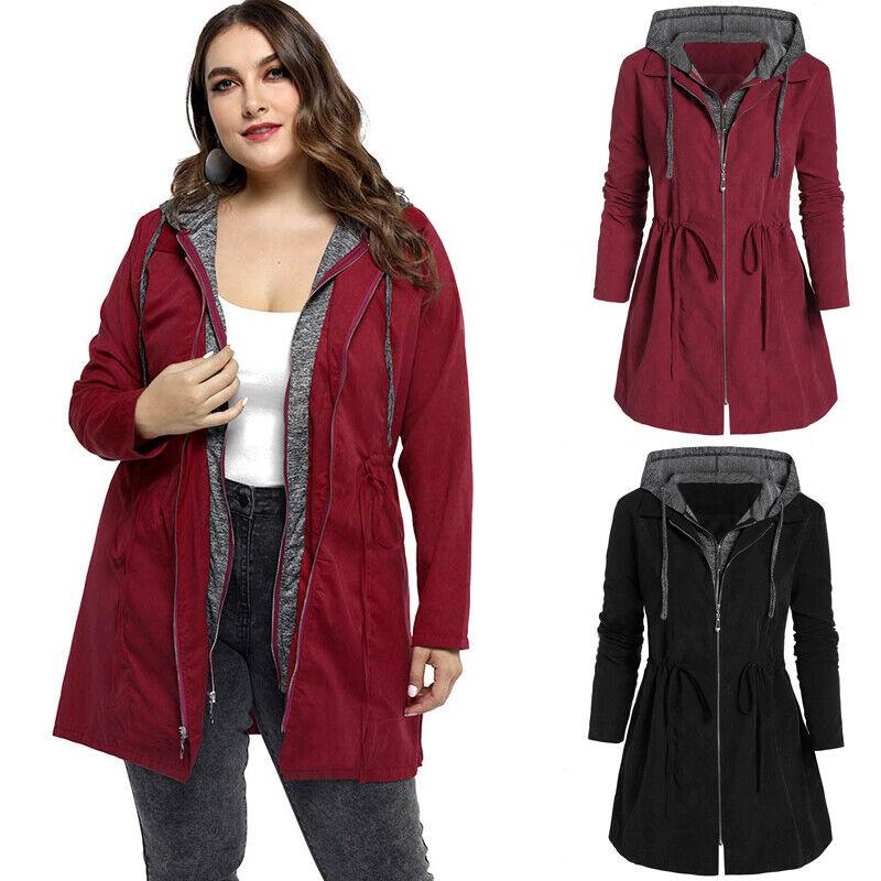 PLUS SIZE Womens Winter Zip Hooded Parka Coat Ladies Outdoor Windbreak Jacket UK