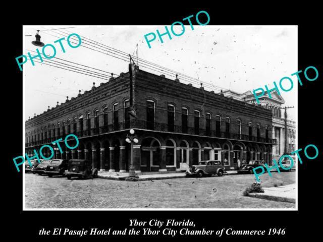 OLD LARGE HISTORIC PHOTO OF YBOR CITY FLORIDA, VIEW OF THE EL PASAJE HOTEL c1946