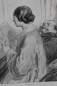 GAVARNI-Lithographie-originale-serie-Par-ci-Par-la-Lectrice-Prusse