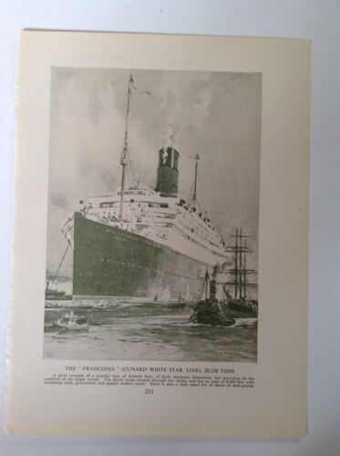 The Franconia, Cunard White Star Line Vintage Shipping Print c1953