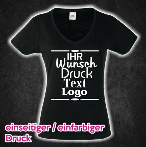 Lady Girl Shirt schwarz mit Wunsch Druck Firma Aufdruck Text Motiv bedruckt Flex