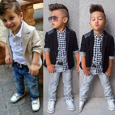 Kids Boys Casual Party Gentleman Blazer Shirt Tops Denim Pants 3Pcs Outfits  Sets   eBay