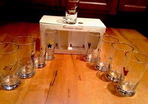 New Full Set Of 9 Pottery Barn Reindeer Glasses All 8