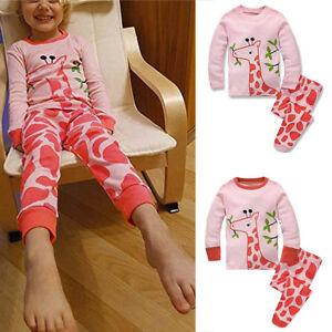 Toddler Baby Boys Girls Long Sleeve Cartoon Tops+Pants Pajamas Sleepwear Outfits