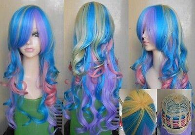 Harajuku Lolita Multi-Color mix Long Curly Cosplay Heat-Resistant wig +GiftAE197