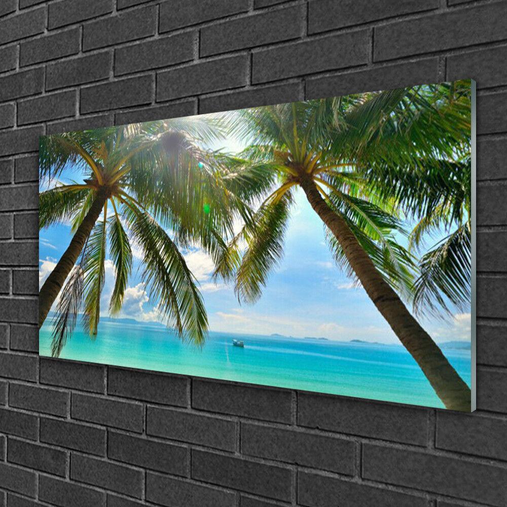 Tableau sur verre Image Impression 100x50 Paysage Palmiers Mer
