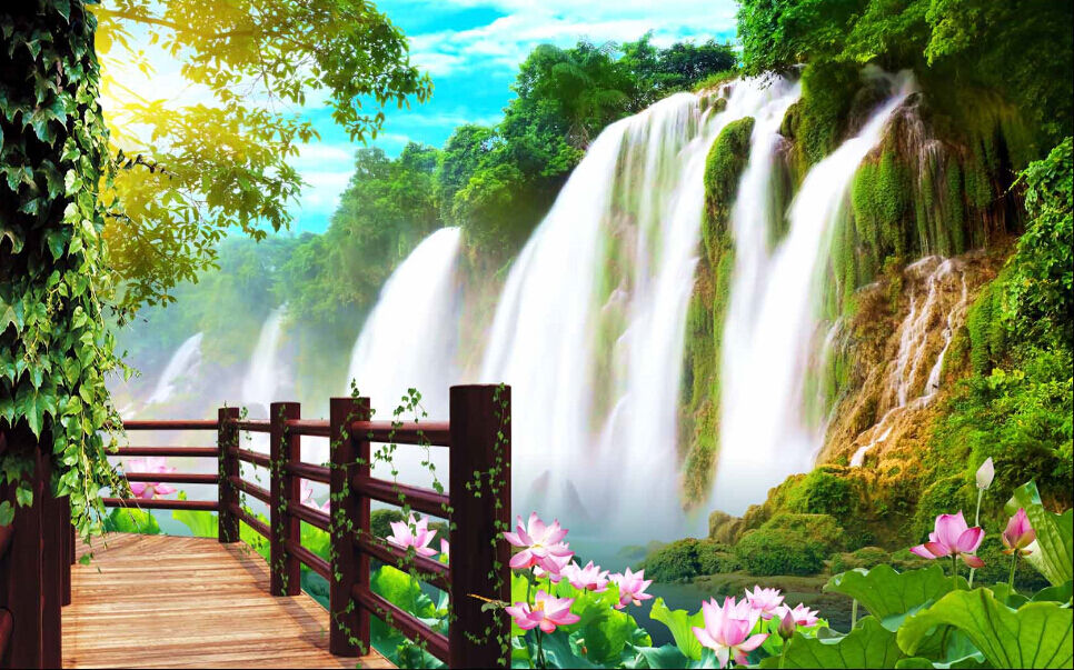 3D Großer Wasserfall 4232 Fototapeten Wandbild Fototapete BildTapete Familie