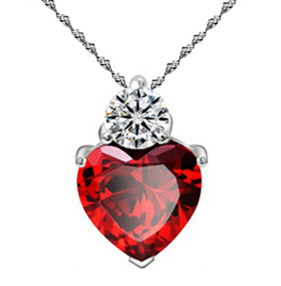 Valentine's Day 925 Silver Ruby Red Made With Swarovski Elements Heart Necklace