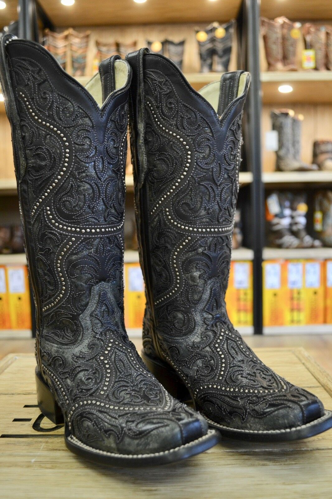 Corral Ladies Black & Charcoal Overlay Studded Square Toe Boots G1331