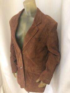 BALLY-Women-s-Tan-Suede-Leather-Blazer-Sport-Coat-Size-14-Made-in-Italy-EUC