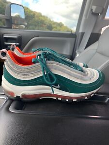 Details about Nike Air Max 97 Miami Dolphins Rainforest Green Orange White 921826 300 Size 7Y