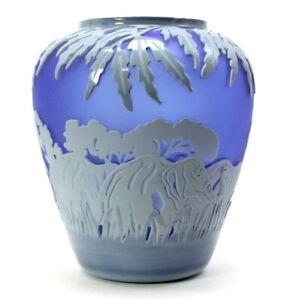 Kelsey Murphy Elephant Cobalt Cameo Glass Vase Pilgrim  Signed+ COA VTG 1991