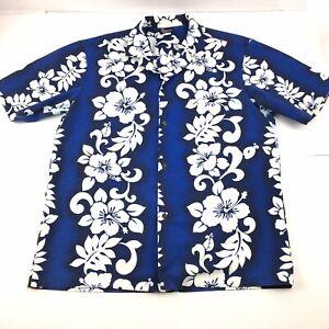 Royal-Creations-Aloha-Hawaiian-Shirt-Mens-Sz-Large-Blue-Hibiscus-Made-In-Hawaii