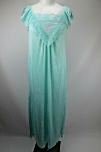VTG-60s-MOODSETTER-Aqua-Embroider-Nightgown-Negligee-Lace-Lingerie-Nylon-USA-S-M