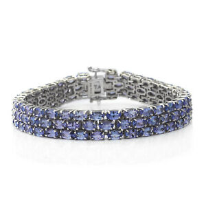 "925 Sterling Silver Blue Tanzanite Triple Row Bracelet Gift Size 7.25"" Ct 22.4"