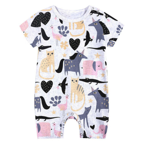 Toddler Kids Baby Boys Cartoon Romper Jumpsuit Outfit Clothes Summer Playsuits