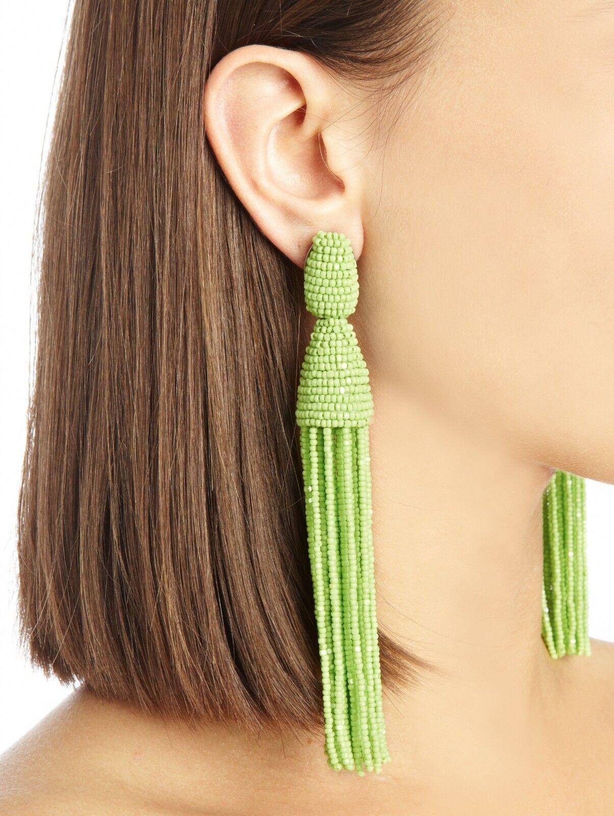 395 NEW Oscar de la Renta LONG BEADED TASSEL Earring Clip On Lime Lt Green