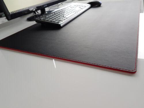 Schreibtischunterlage Soft Lux Leder 90 x 50 Schwarz Rote Naht
