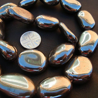 "8"" Hematite Nugget Pebble Beads Black jewellery making Gemstone Size 12-29 (mm)"