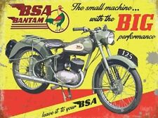 BSA Bantam, Big Performance Motorcycle, Vintage Old Garage Small Metal/Tin Sign