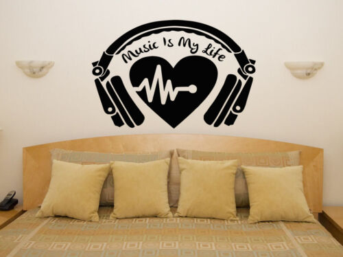 Music Is My Life Headphones Tunes Art Decal Sticker Picture Poster Decorate