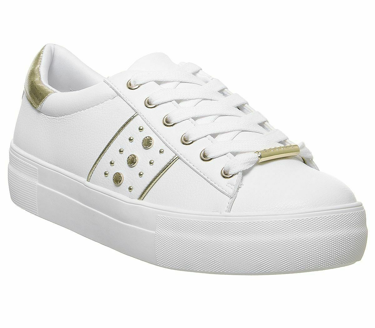 damen Office Future Lace Up Trainers Weiß Gold Flats