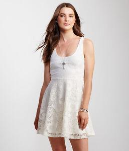 bbb788fc905 Details about Aeropostale Women Dress Sz S Off White Cream Fit & Flare Mini  U-neck Shirred