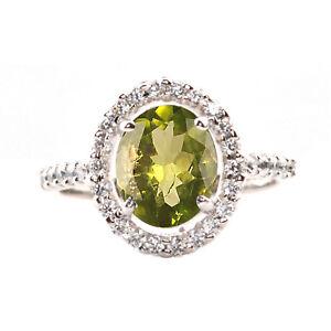 Fine Jewelry The Cheapest Price 1,40 Karat Natürlicher Peridot Egl Zertifizierter Diamant Ring Im 585er Weißgold Diamond