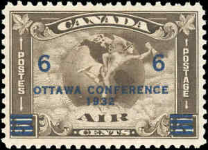 1932-Canada-Mint-H-VF-Scott-C4-C2-Surcharged-Air-Mail-Issue-Stamp