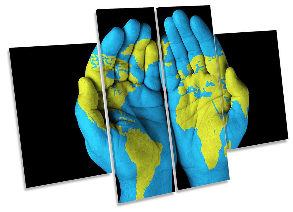 MAPPA del mondo nelle mani incorniciato stampa tela quattro pannelli wall art