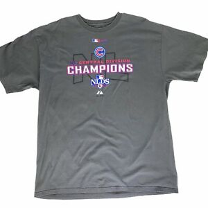 Majestic-Chicago-Cubs-Mens-XL-Gray-T-Shirt-2008-NLDS-Central-Division-Champions