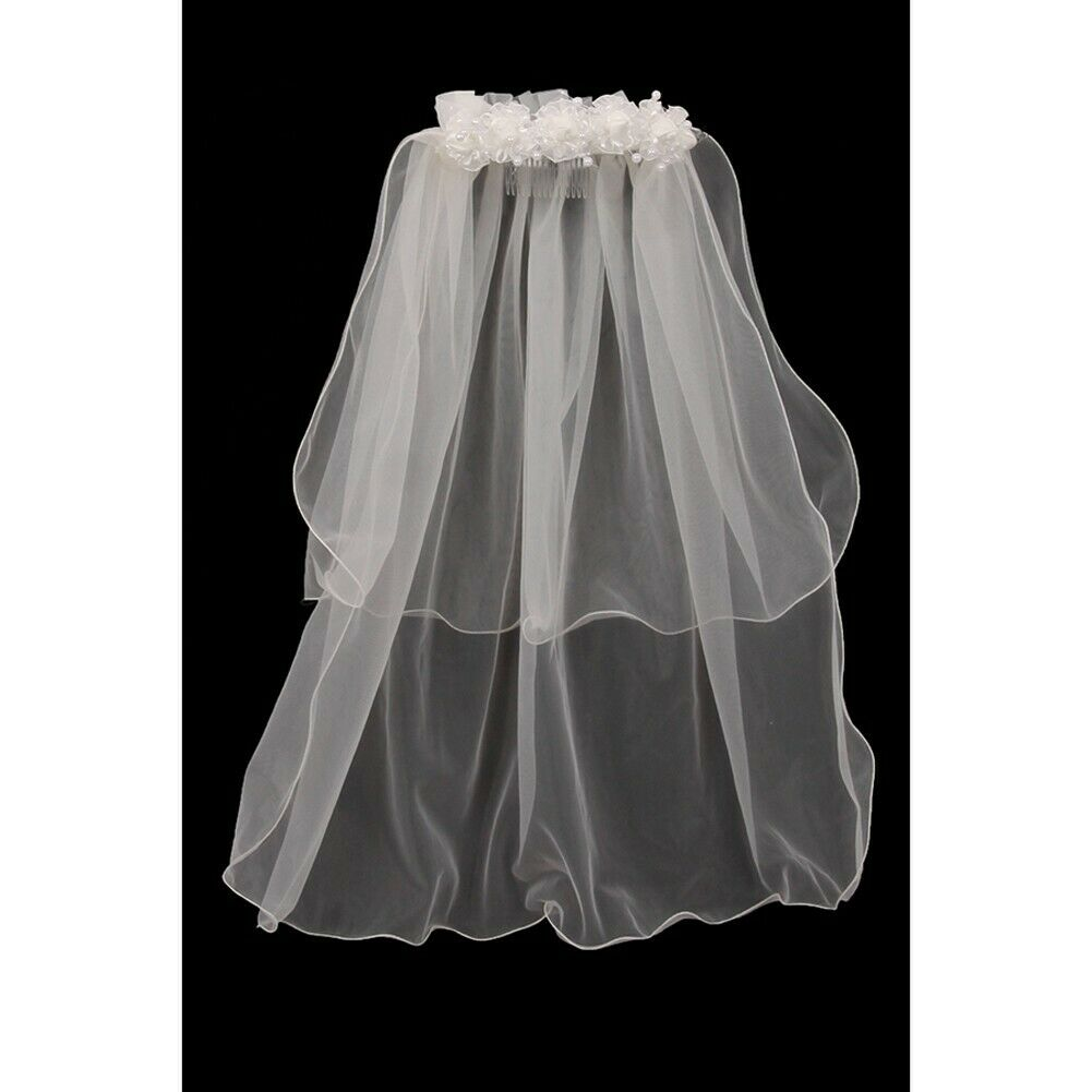 Girls Ivory Floral Pearl Adorned Crown Double Layer Communion Flower Girl Veil