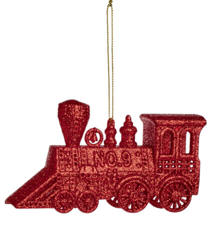 3 x Christmas Tree Red Train Ornament Decorations Baubles 12cm Glitter Finish