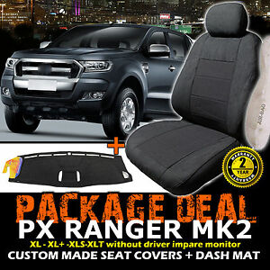 FORD-PX-RANGER-MK2-XL-XLS-XL-Seat-Covers-2ROWS-Dash-Mat-6-2015-ON-Charc-DM1405