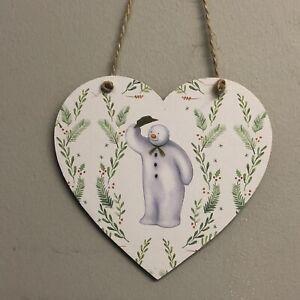The-Snowman-Handmade-wooden-hanging-Heart-Christmas-Decoration-10cm