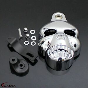 eb2084da Chrome Skull Horn Cover Big Twin Cowbell Horns For 92-14 Harley ...