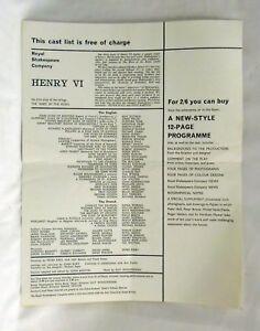 Vintage RSC Cast List x 3 - Richard III  Edward IV  Henry VI  Peter Hall