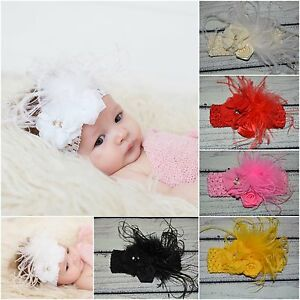 Vintage Flower/Feather Newborn Baby/Toddler/G<wbr/>irl Headband