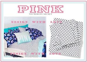 3pc-VICTORIA-039-S-SECRET-PINK-bed-SHEET-SET-WHITE-NAVY-DOTS-twin-XL-CLEARANCE