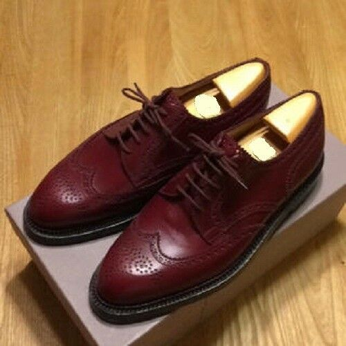 Handmade men Burgundy wingtip brogue formal shoes, Men dress leather shoes