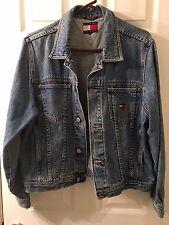 Vintage 90's Tommy Hilfiger Denim Jean Jacket Big Logo Flag Size L/G