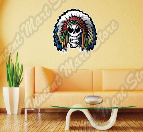 Indian Chief Warrior Skull Tomahawk Native Wall Sticker Interior ...