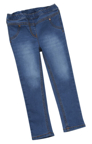 Baby ragazze bambini Denim Look Jeans Tinta Unita Basic Stretch Leggings Pants