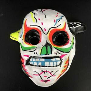 Vintage-1960s-Sugar-Skull-Halloween-Mask-Vacuform-Monster-Painted-Bright-Horns
