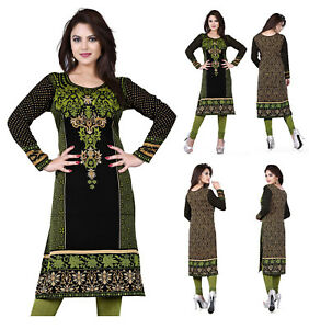 UK-STOCK-Women-Printed-Indian-Long-Sleeves-Tunic-Tank-Top-Kameez-Dress-113C