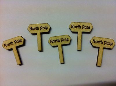 X10 Christmas Wooden Fairy Signpost /'North Pole/'